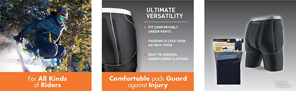 Seirus Super Padded Shorts Impact Protector Sz S//M Black Fit Under Your Clothes