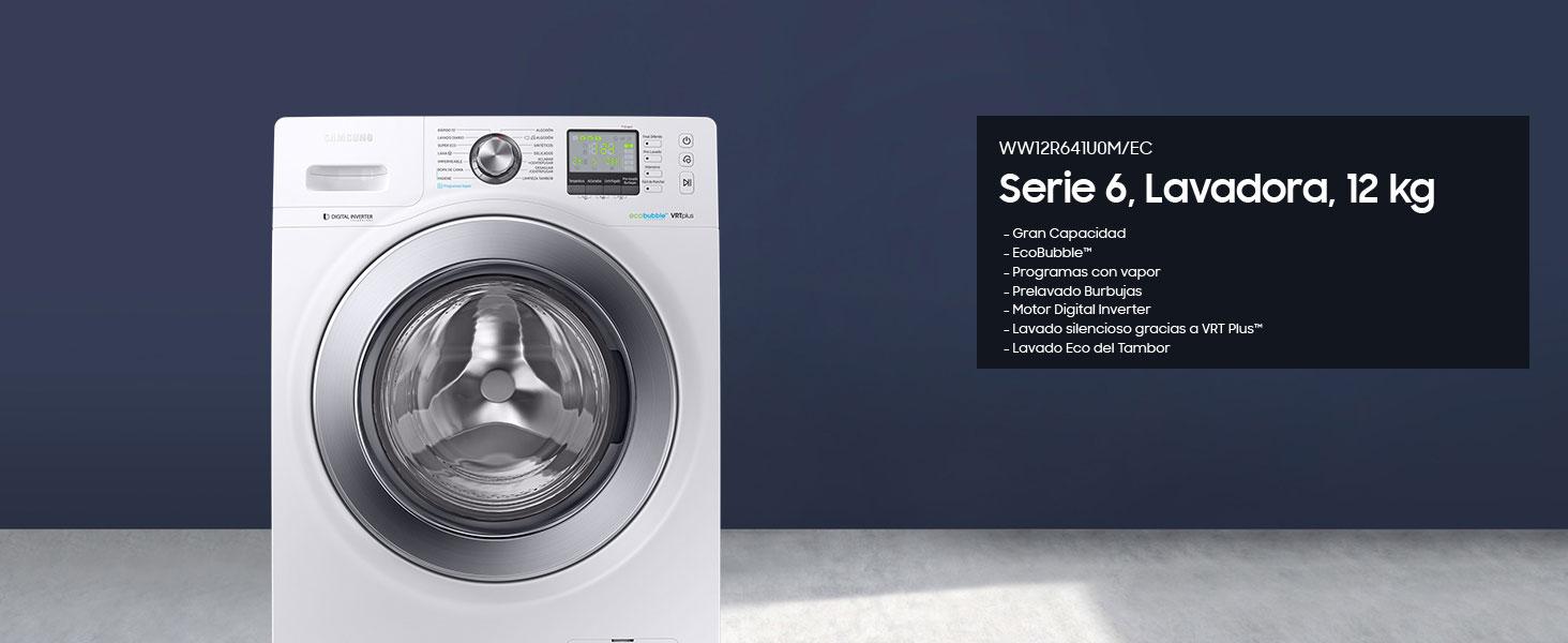 Lavadora Samsung Ecobubble 12kg WW12R641U0M/EC, Inverter: Amazon ...