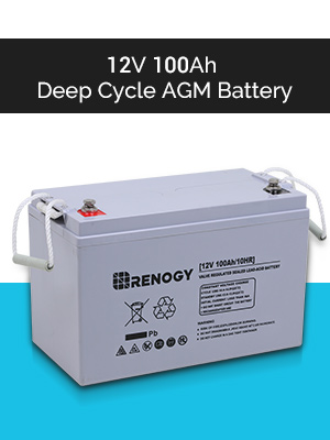 Renogy Deep Cycle AGM Battery 12 Volt 100Ah for RV Solar Marine and Off-grid Applications /& Solar Panel Connector Assembly Tool