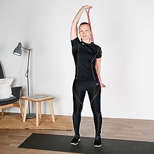 Gymnastikband Leicht zu Tragender und Hochelastischer Gur Widerstandsband mit Schlaufen Gurt Waschbarer Fitnessband Yoga Stretch Set f/ür Arme Beine Elastisches Textilband