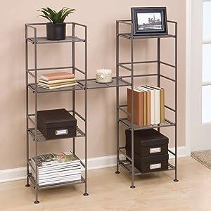 sevilleclassics steel iron metal 4 tier shelves bracket clip together slat shoe gray storage rack