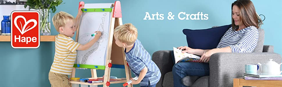Award Winning Hape All-in-One Wooden Kids Art Easel with Paper Roll and Accessories