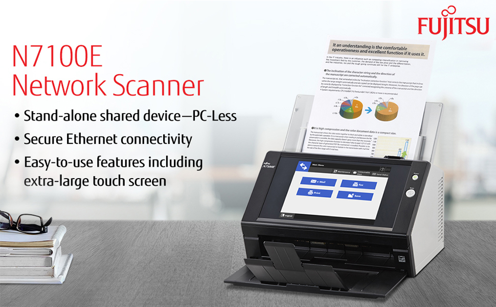fujitsu n7100e network scanner, stand-alone shared device, secure ethernet connection, east to use