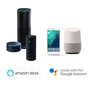Works with Amazon Alexa and Google Assistant