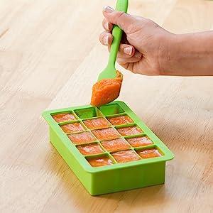 infant; baby; puree; feeding; freezer; tray; reusable; jar; storage; flexible; homemade
