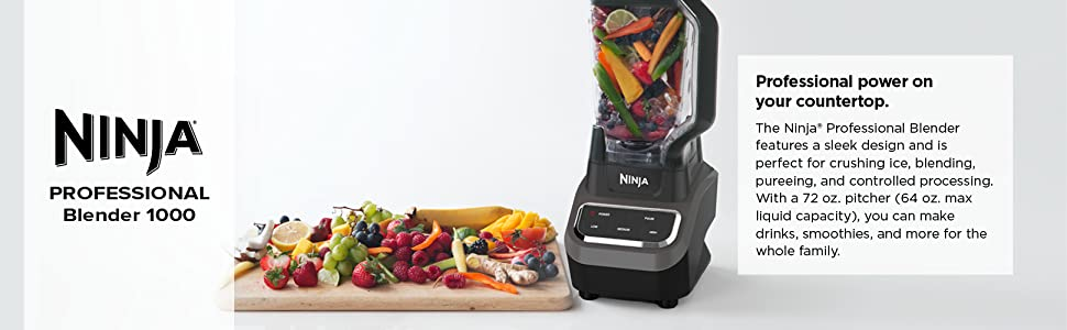 Ninja Professional 72oz Countertop Blender with 1000-Watt Base and Total Crushing Technology for Smoothies, Ice and Frozen Fruit