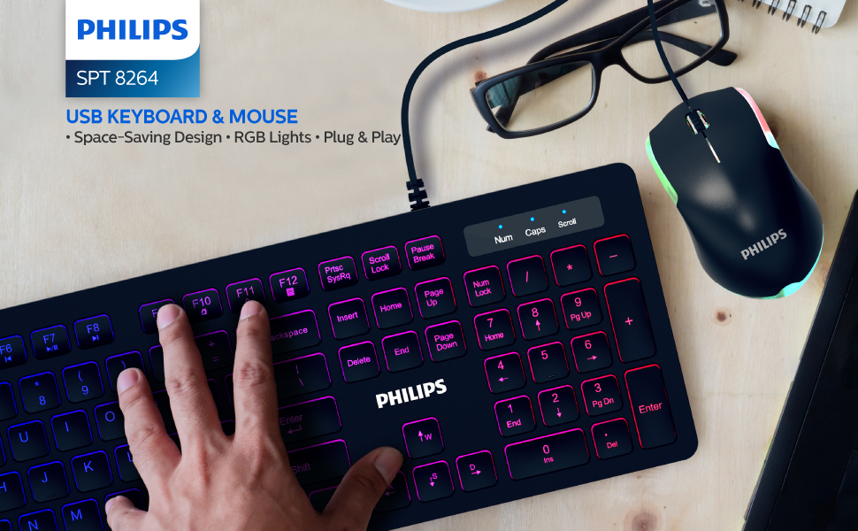 PHILIPS Premium Wired RGB Keyboard & Mouse Bundle