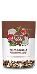cacao coconut crunch granola paleo healthy snacks protien breakfast gluten frain free natual organic