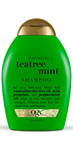 hydrating teatree mint shampoo with australian tea tree oil, milk proteins and peppermint oil