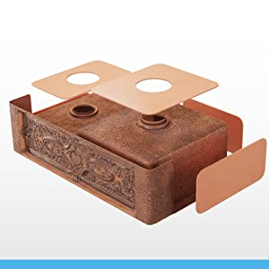 Sound-dampening padding is added to the underside of all our kitchen copper sinks.