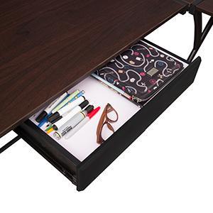 soho, desk, drawer, detail, organizer, center drawer, mocha walnut, wood desk, corner desk,