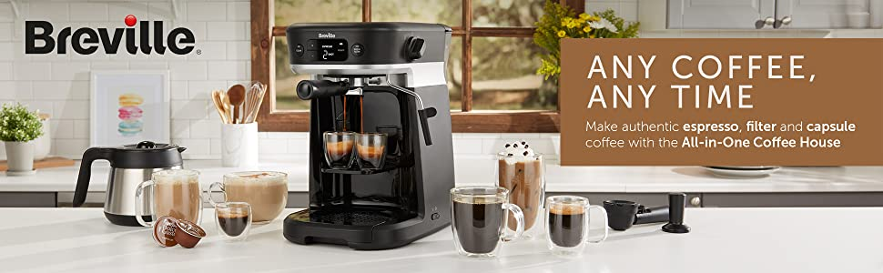 Breville All-in-One Coffee House. Coffee Machine for Espresso, Filter and Capsule Coffee