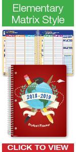 elementary school student planner 2018-2019 agenda organizer