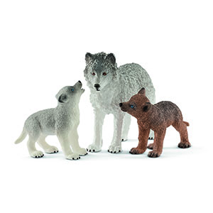 mother wolf with pups, wolf figurines, wolf figure, schleich, schleich animals,north american wolf