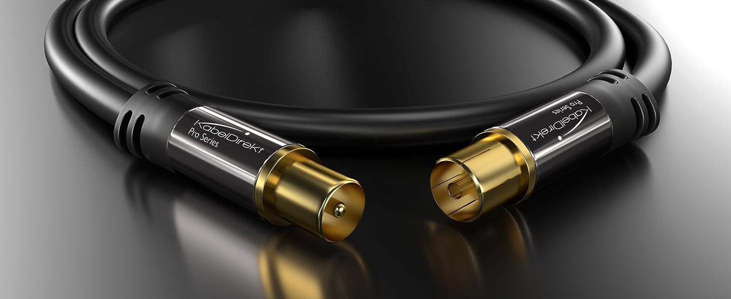 KabelDirekt – 15m Cable Coaxial Antena (Clase A, Soporta DVB-T, DVB-S, DVB-C, DVB-S2 y HDTV, para TV y Radio), Pro Series