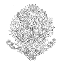 Green man, nature, pagan, Magic, trees, leaves, colouring, lines, pens, pencils, mindfulness