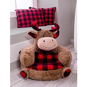 plush moose chair, buffalo check plush moose chair, children's moose chair