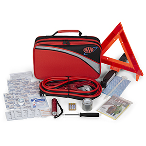 road kit, jumper cables, emergency triangle