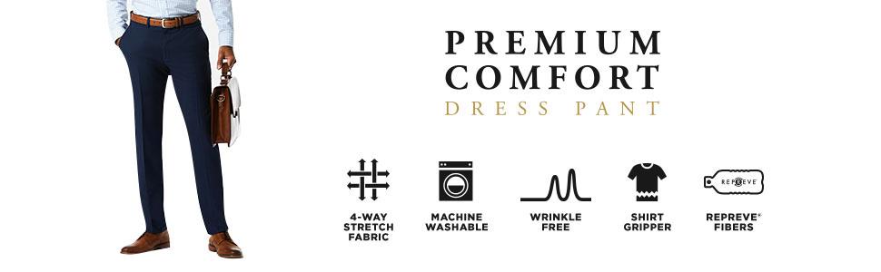 Haggar Premium Comfort Dress Pant, mens dress pant, mens slacks, stretchy pants, wrinkle free pants