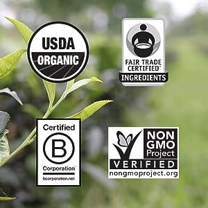usda certified organic fair trade certified non-gmo project verified b corporation halal kosher