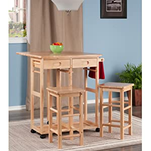 Amazon Com Winsome Wood Table Drop Leaf Square Stool