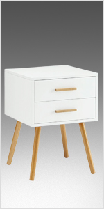 scandinavian end table two drawer