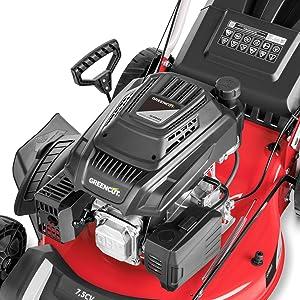 Greencut GLM880SXE - Cortacésped autopropulsado con motor de gasolina de 218cc y 7,5cv y arranque eléctrico, con un ancho de corte de 504mm (o 21