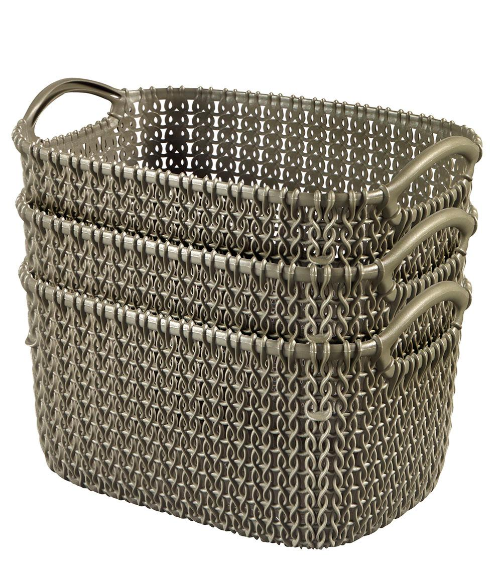 Keter Nestable Small Knit Plastic Baskets For Home Storage And Organization