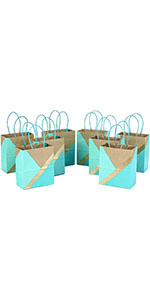 Teal small gift bags with mint green, gold, and kraft brown accents for baby showers, bridal parties