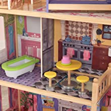 Puppenhäuser, Puppenstube 30 cm, Holz-Puppenhaus, Spielzeug, großes Puppenhaus aus Holz, Barbie