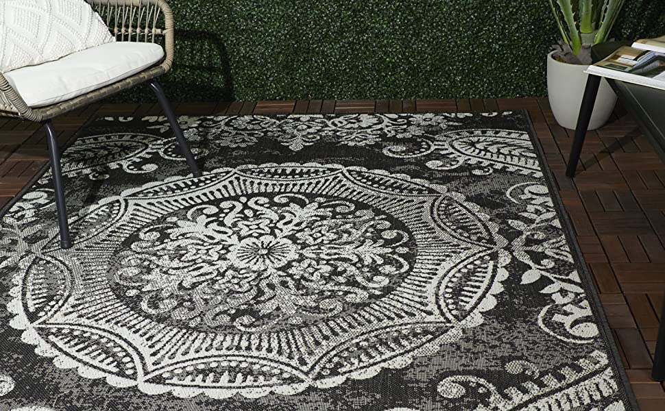 Amazon Com Balta Rugs Beverly Dark Grey Indoor Outdoor Area Rug 8 X 10 Low Pile Stain Resistant Furniture Decor