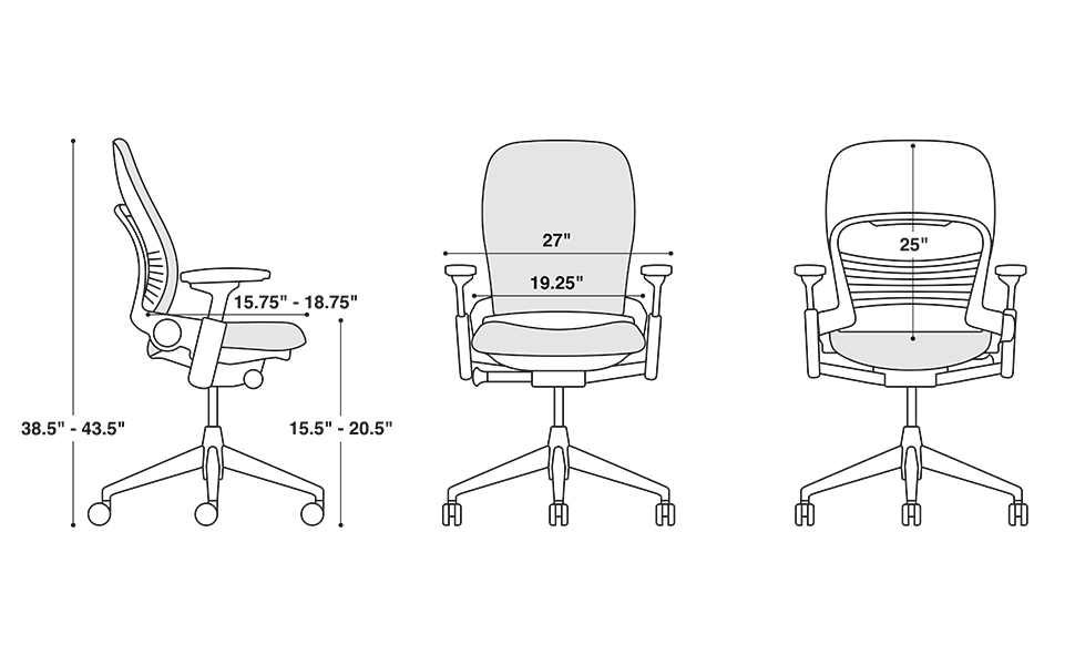 Steelcase Leap ergonomic home office chair dimensions