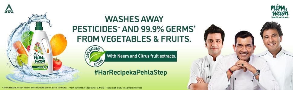 Vegetable & Fruit Wash, Clean, Pesticides, Germs, Bacteria, Virus, Dirt, vegetable wash liquid, Neem