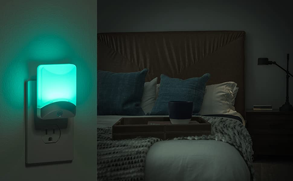 Brushed nickel color changing night light