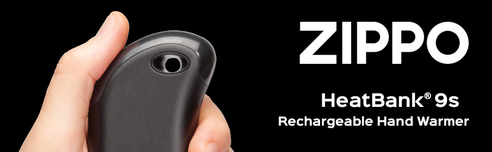 Zippo Heatbank 9s Rechargeable Hand Warmer in hand. Features include: dual sided heat, up to 9 hours
