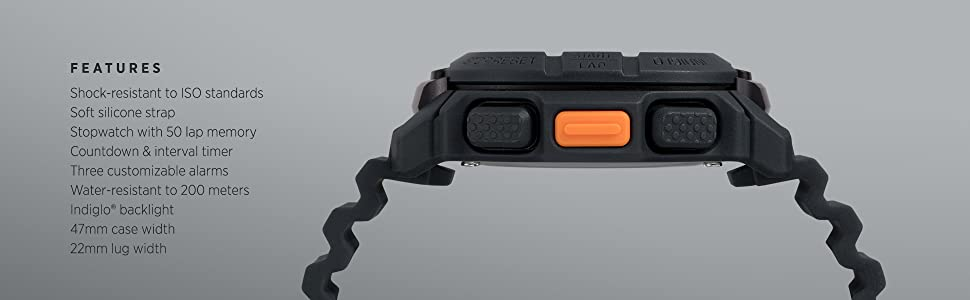 BST.47 shock resistant stopwatch water resistant