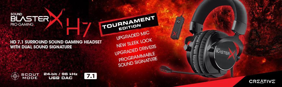 Creative Sound BlasterX H7 Tournament Edition Cuffie di Gioco con ... 2ebe25828e47