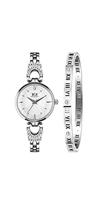 ... Women Mini Three-Hand Stainless Steel Watch and Bracelet Box Set ...