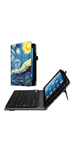 Kindle Fire hd 8 case 2017 7th generation screen protector keyboard leather cover accessories