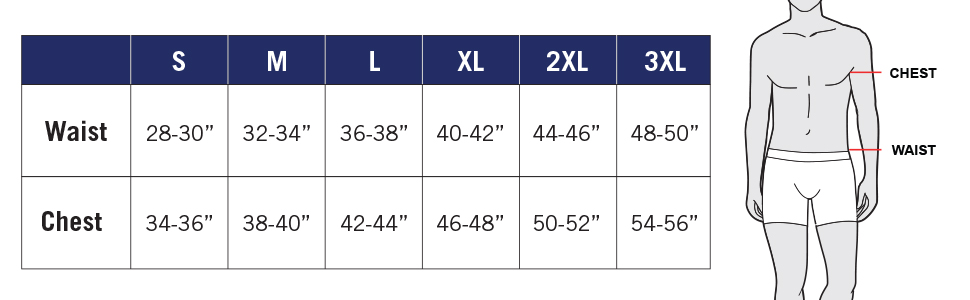 Waist and Chest Size Chart