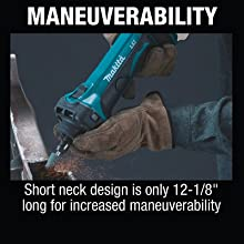 maneuverability short neck tweleve inches long increased movement small space angle reach percise