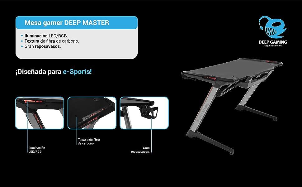 Mesa Gaming COOLBOX DEEPMASTER USB LED-RGB Negra: Amazon.es ...