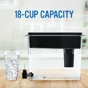 18-cup water dispenser; water fill cup;brita filters; water purifier;lead reduction;filtered water