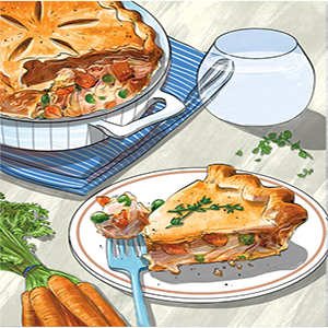 Color drawing of chicken pot-pie, on a table with carrots and a glass of water.