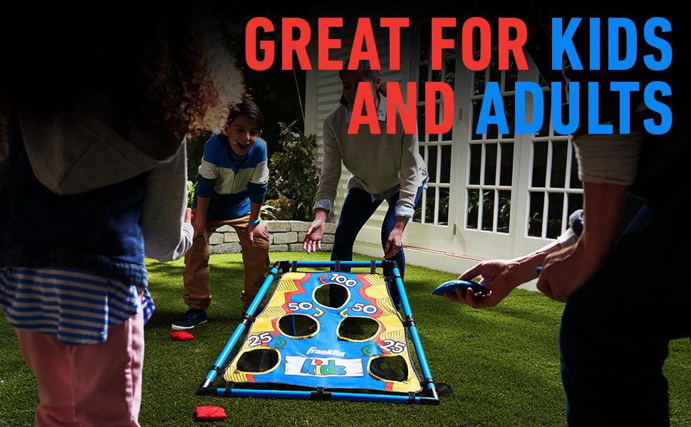 cornhole, kids cornhole, bean bag toss, toss game, youth sports, backyard game, fun for kids, child