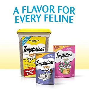 A flavor for every feline, Temptation Cat Treats, Variety of Flavors, Chicken, Beef, Catnip