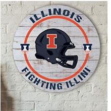 Illinois Fighting Illini Helmet Weathered Circle Wall Art