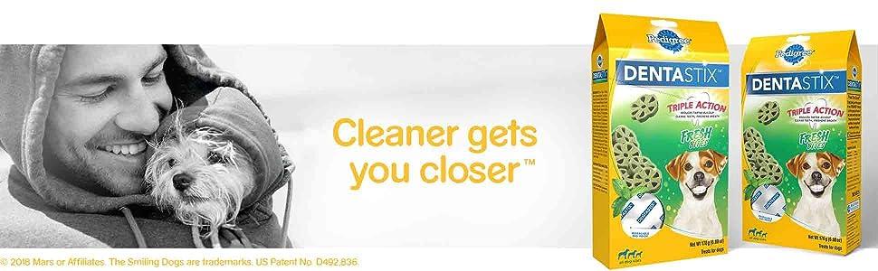 Pedigree; DentaStix; Dental Dog Treats; Cleaner Gets You Closer; Benefit Added Treats