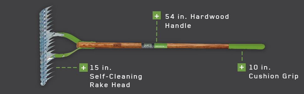 "15/"" Adjustable Head Self-Cleaning 10/"" Grips Hardwood Handle Ames Thatch Rake"