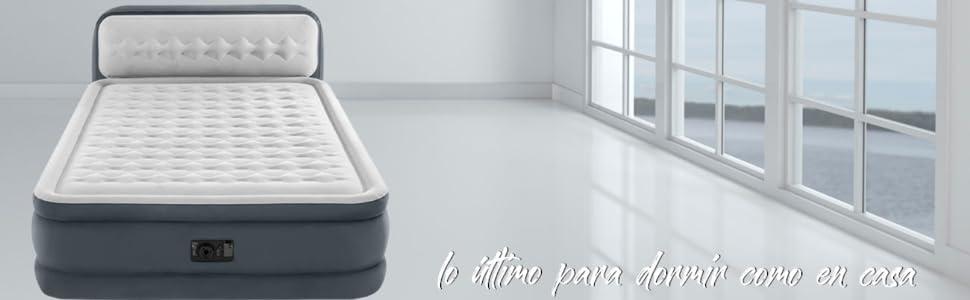 Intex 64448 - Cama de aire Dura Beam Deluxe Ultra Plush con cabecero